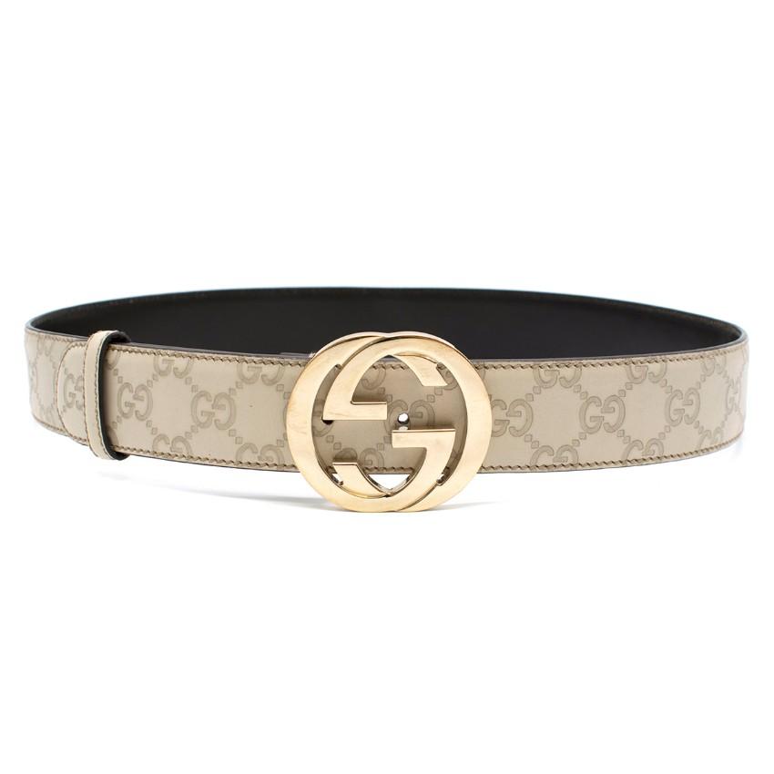 Gucci Monogram Ecru GG Leather Belt