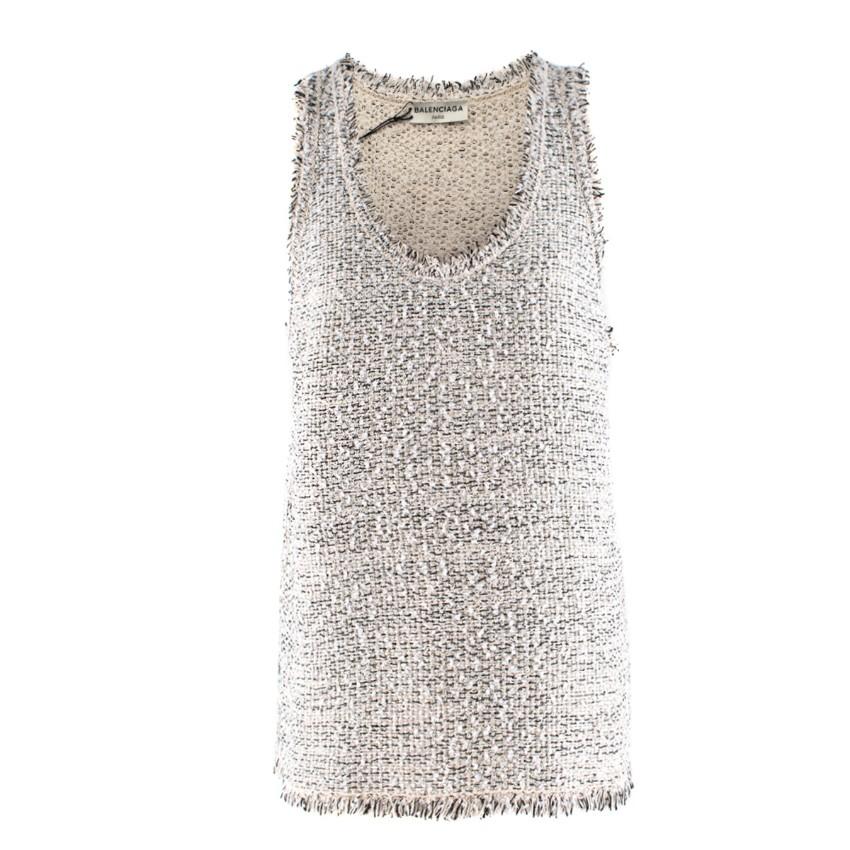 Balenciaga Silk Blend Tweed Sleeveless Top