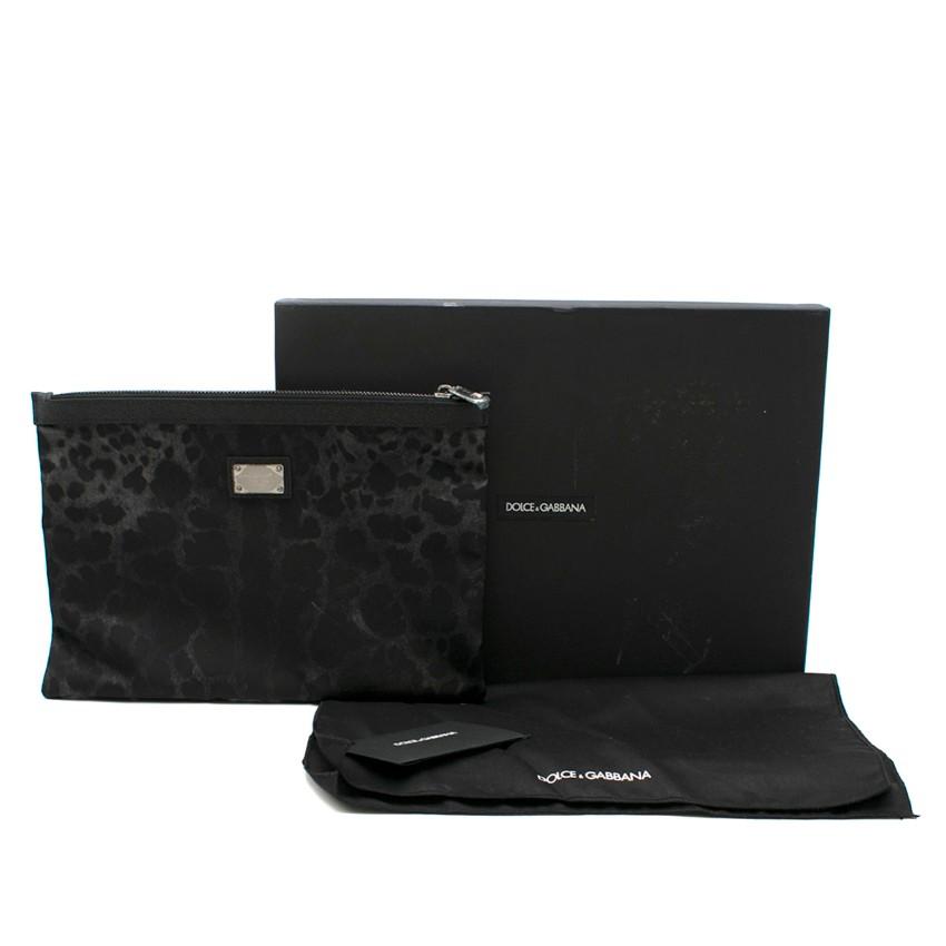 Dolce & Gabbana Black Leopard Print Pouch