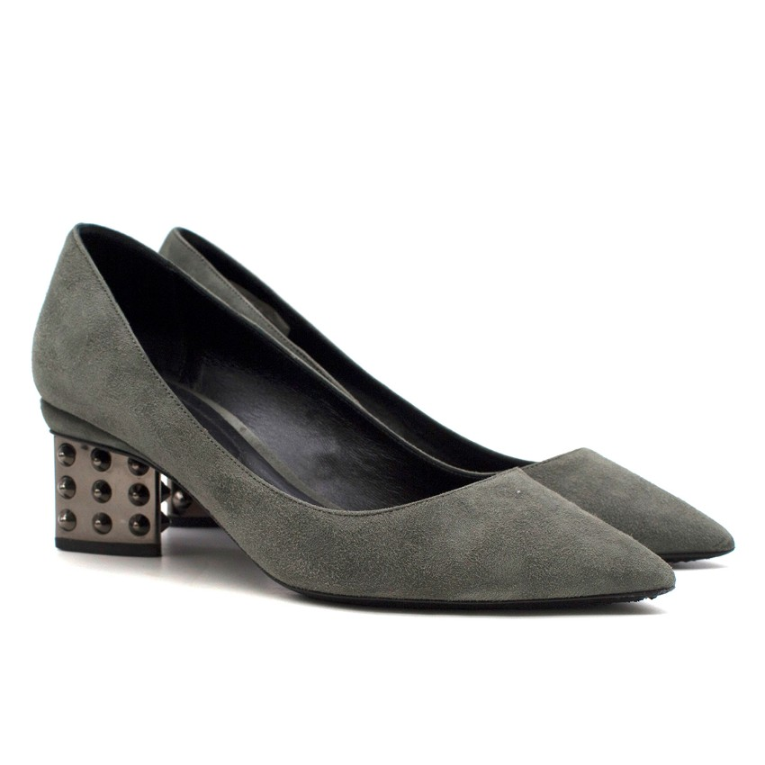 Nicholas Kirkwood Grey Suede Studded Pumps