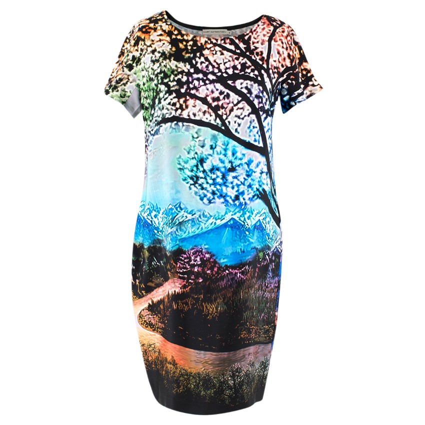Mary Katrantzou Multicolour Nature Print Silk Shift Dress