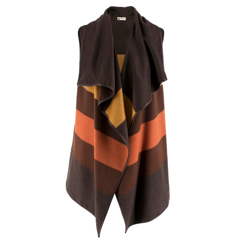 Colombo Cashmere-Blend Brown Tonal Striped Gilet