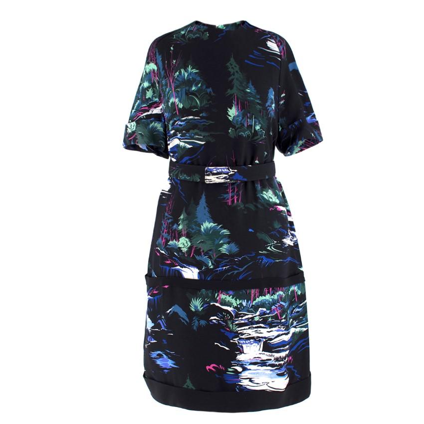 Balenciaga Black Forest-Print Belted Dress