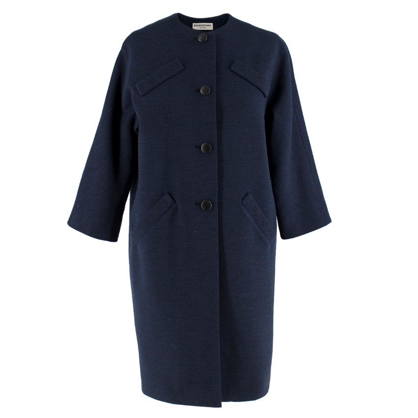 Balenciaga Navy Blue Wool Single-Breasted Coat