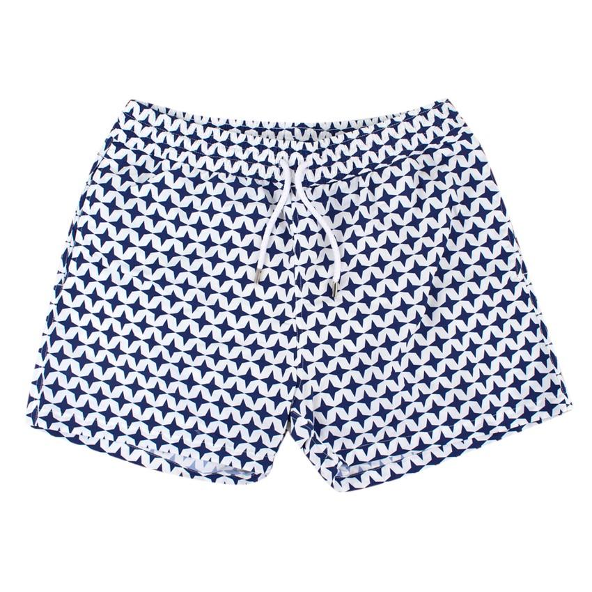 Frescobol Carioca White and Blue Swim Trunks
