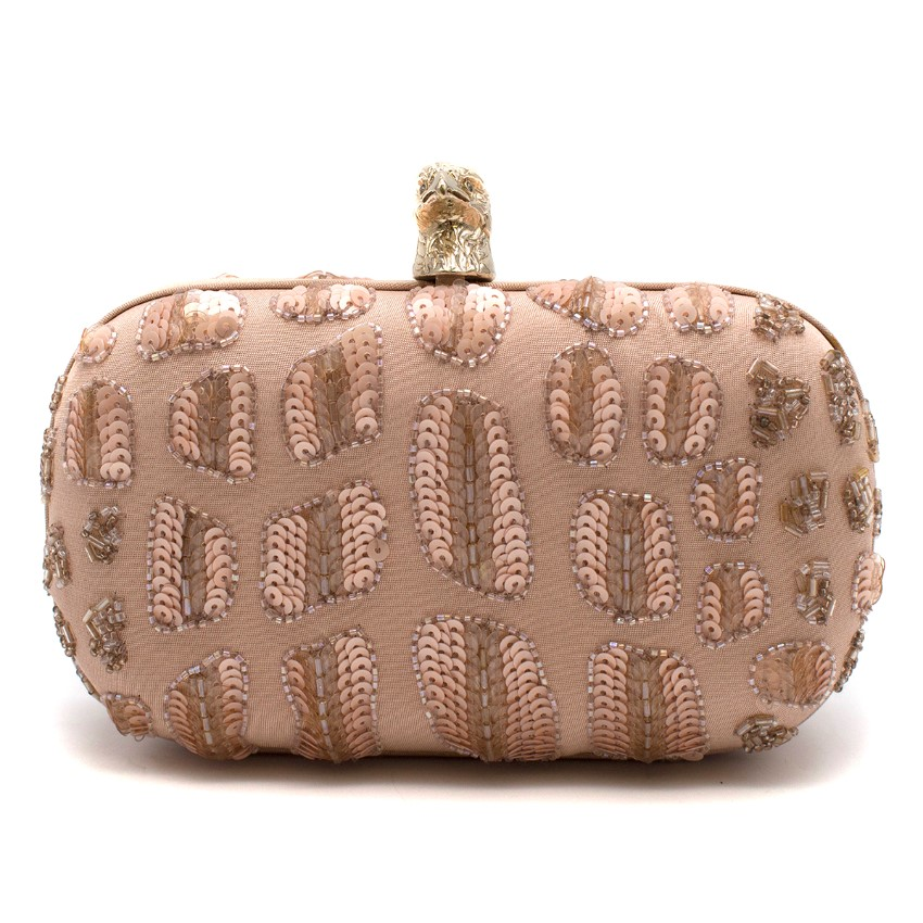 Emilio Pucci Pink Sequin Embellished Hawk Clasp Silk Box Clutch