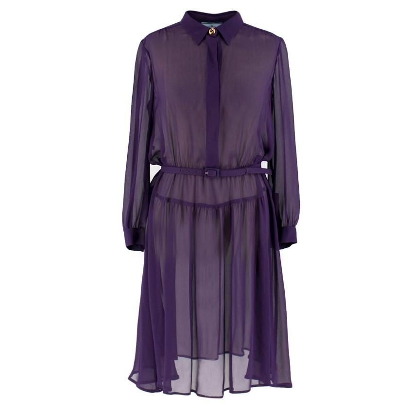 Prada Purple Sheer Belted Shirt Dress