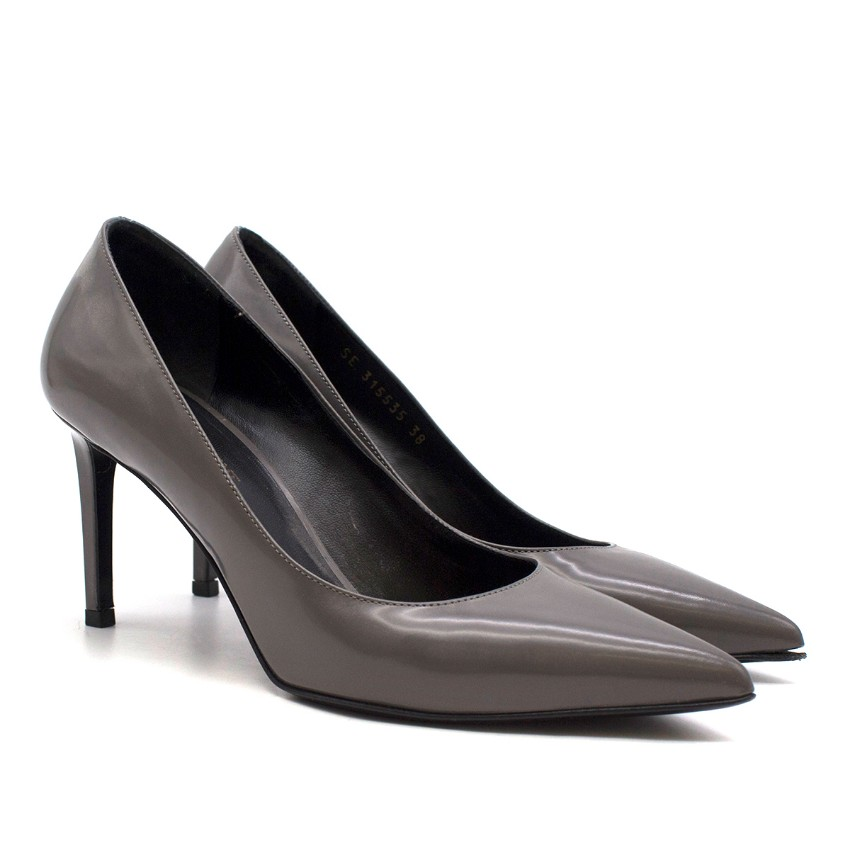 Saint Laurent Grey Leather Pumps