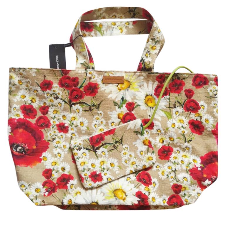 Dolce & Gabbana Floral Print Canvas Beach Bag