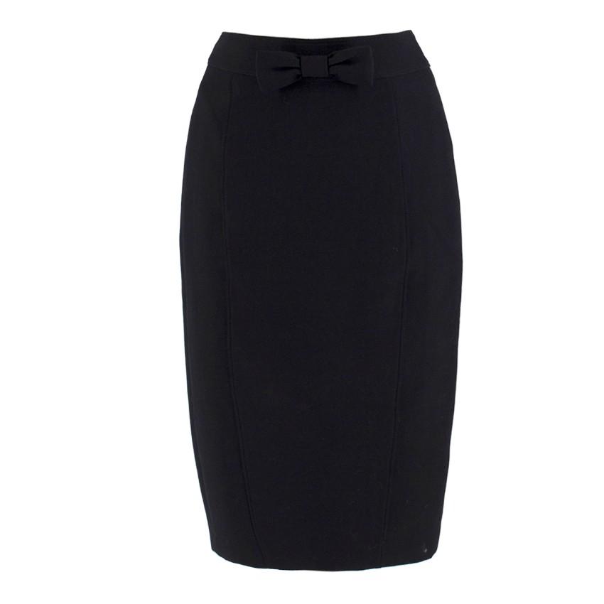 Burberry Black High Waist Bow Detail Pencil Skirt