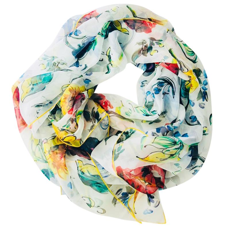 Dolce & Gabbana Sheer Floral Print Scarf