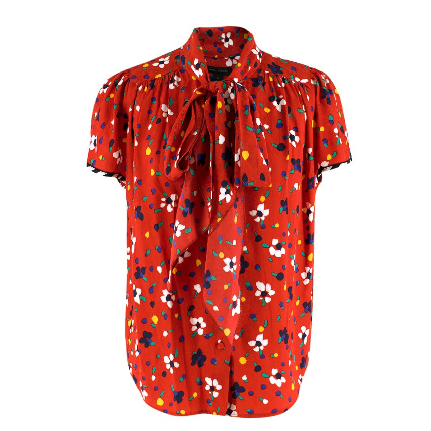 Marc Jacobs Floral Printed Red Silk Jacquard Top