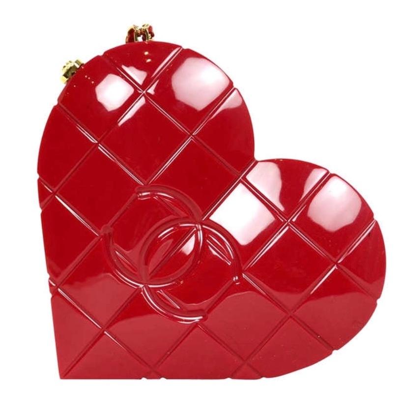 Chanel Red Chocolate Bar heart shaped shoulder bag