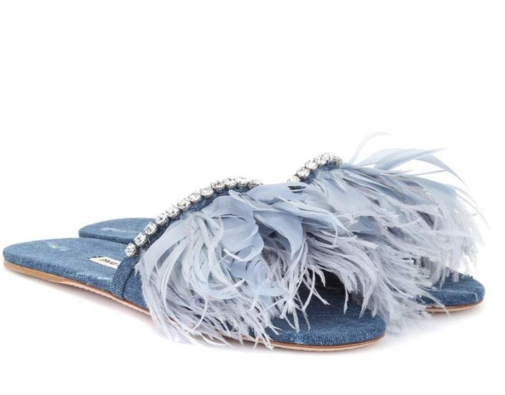 Miu Miu Blue Denim Feather Embellished Slides
