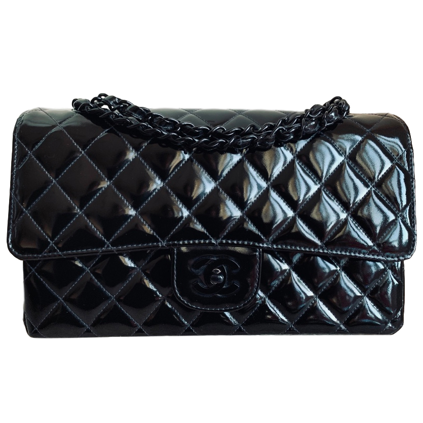 Chanel So Black Patent Double Flap Bag