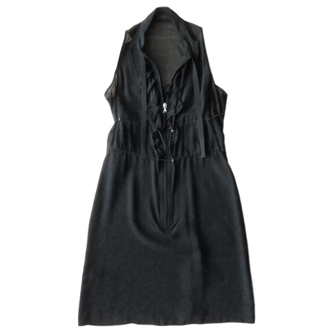 Prada Silk Sleeveless Fishnet Mini Dress
