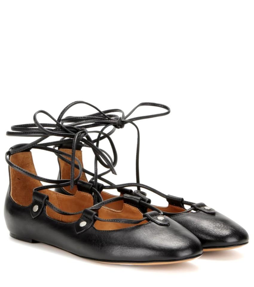 Isabel Marant Black Lace-up Lali Ballerina Flats