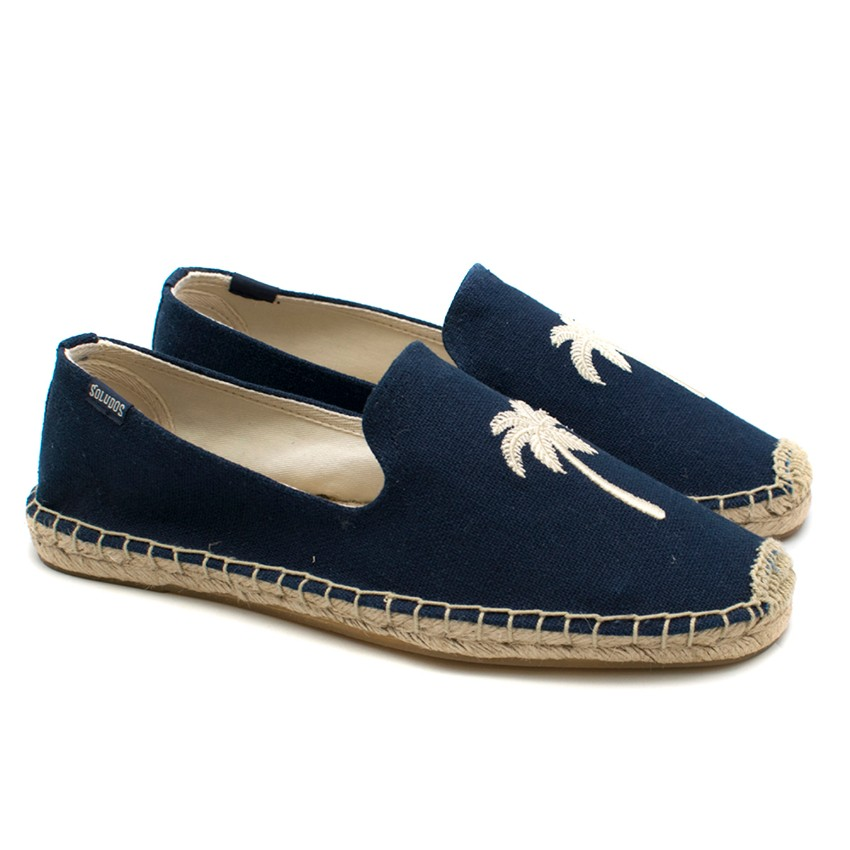 Soludos Navy and Palm Tree Embroidered Espadrilles