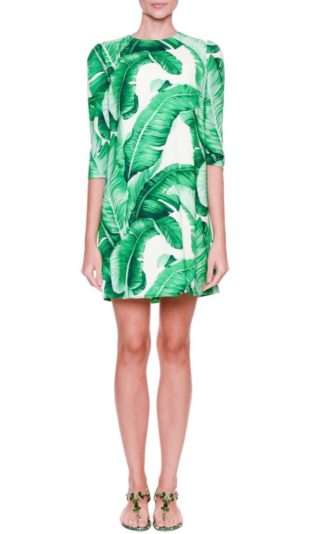 Dolce & Gabbana Banana Leaf Print Shift Dress