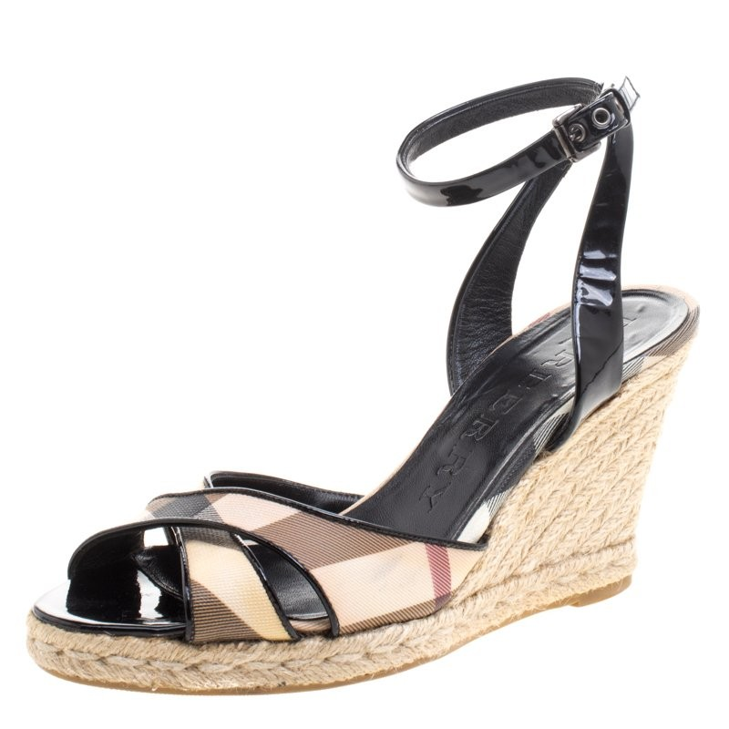 Burberry Patent Leather Nova Check Espadrille Wedges