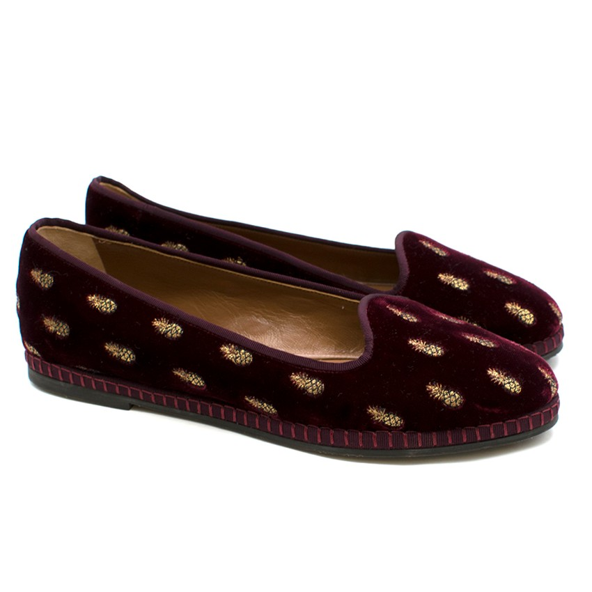Aquazzura Red Velvet Gold Pineapple Print Loafers