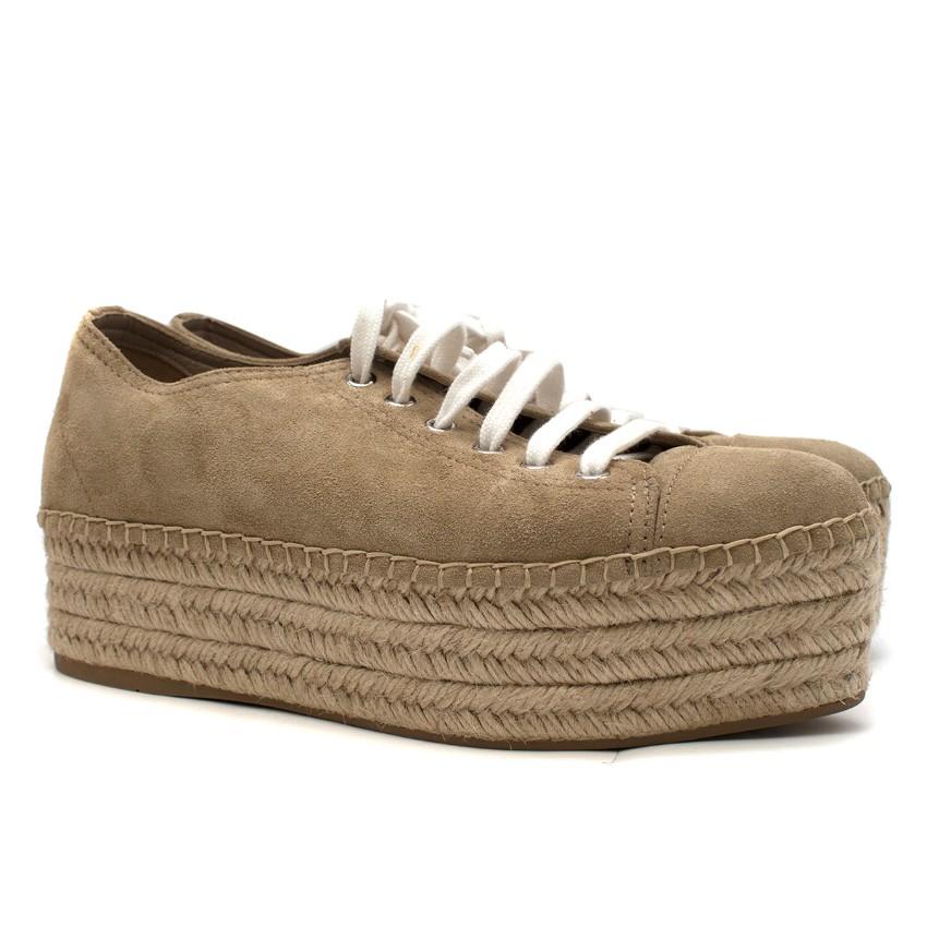 Miu Miu Beige Suede Espadrille Platform Sneakers