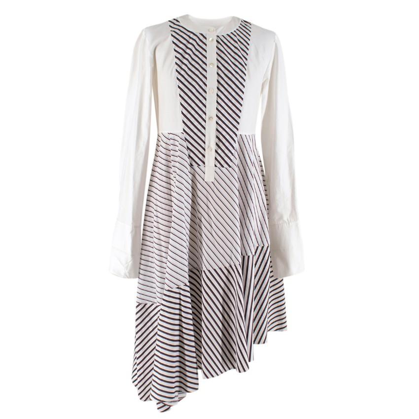 Carven White Cotton Striped Asymmetric Shirt Dress