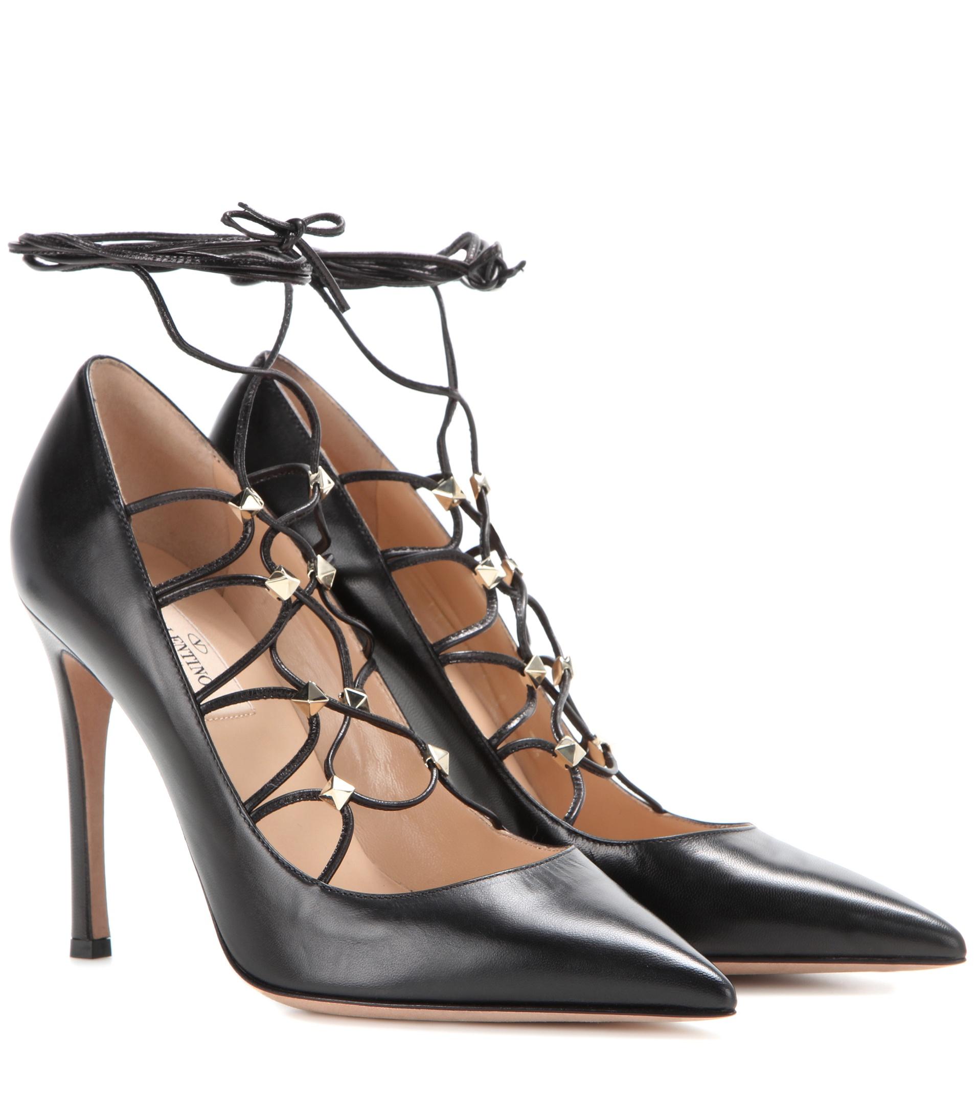 Valentino black l;rather lace up rockstud pumps