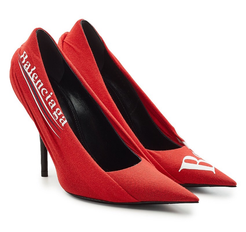 Balenciaga knife logo red jersey draped pumps
