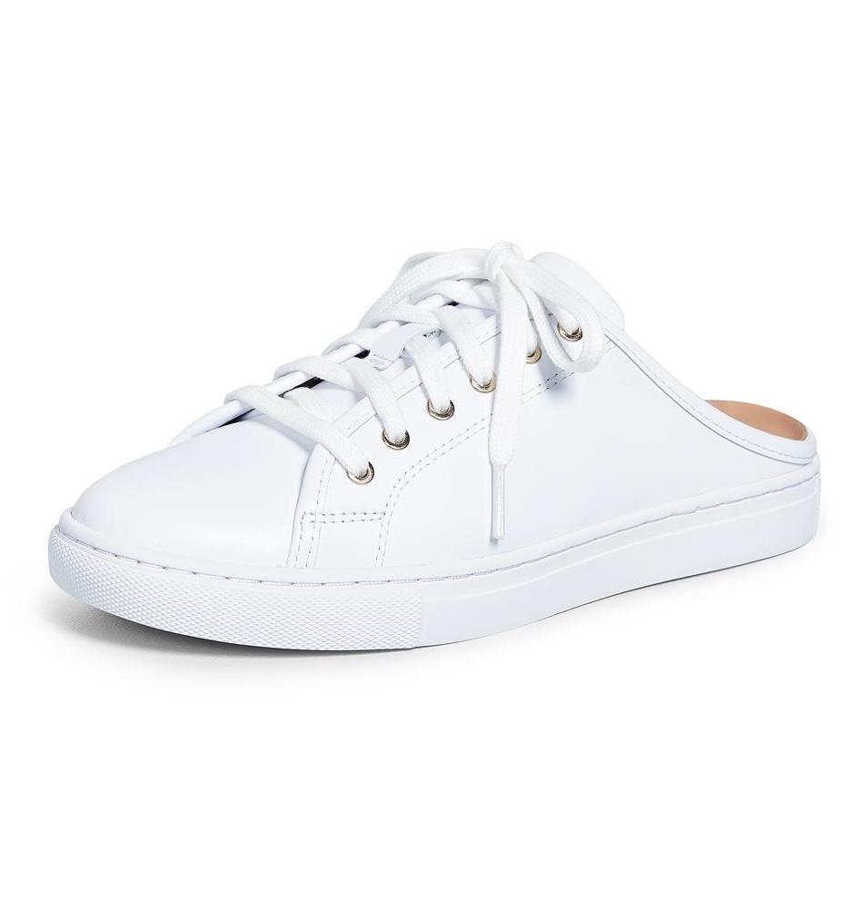 Club Monaco White Leather Slip-On Jamila Sneakers