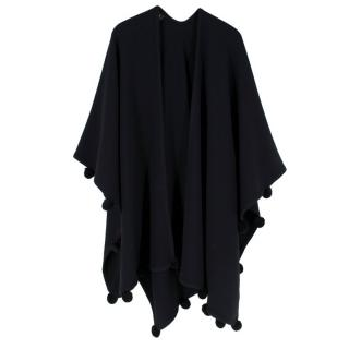 Escada Black Pure Wool Pompom Embellished Shawl