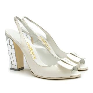 Salvatore Ferragamo White Leather Mosaic Heel Sandals