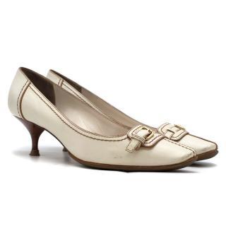Louis Vuitton White Leather Kitten Heel Pumps