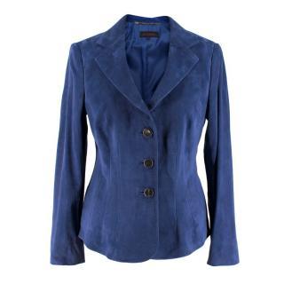 Escada Blue Goat Suede Stitch-detailed Buttoned Blazer