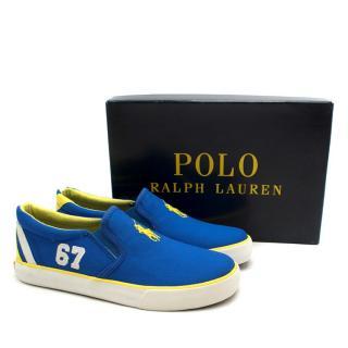 Polo Ralph Lauren Blue Canvas Bal Harbour II Slip-On Trainers