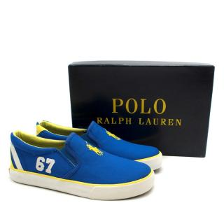 Polo Ralph Lauren Blue Canvas Bal Harbour II Slip-On Trainers