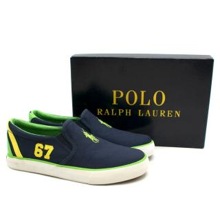 Polo Ralph Lauren Boys Navy Canvas Slip-on Sneakers