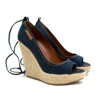 Sergio Rossi Blue Denim Lace-Up Espadrille Wedges