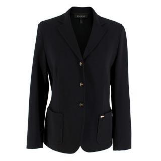 Escada Black Wool-blend Stretch Blazer