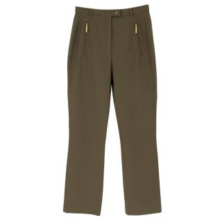 Escada Khaki Green Wool-Blend Trousers