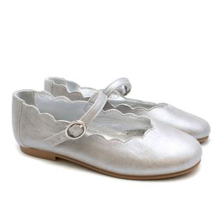 Papouelli Estella Girls Silver Metallic Buckle Strap Shoe