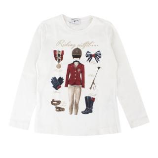 Monnalisa Girls White Cotton-blend Graphic-Printed Top