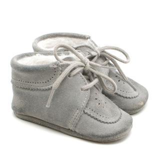 Tartine et Chocolat Baby First Steps Light Grey Nubuck Shoes