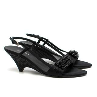 Prada Black leather Stud-Embellished Slingback Wedge Pumps
