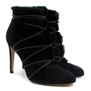 Gianvito Rossi Black Suede Lace-Detailed Fur Ankle Boots