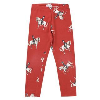 Monnalisa Girls 6Y Red Horse Riding Print Leggings