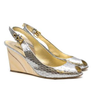 Miu Miu Silver Snakeskin Print Wooden Wedge Sandals