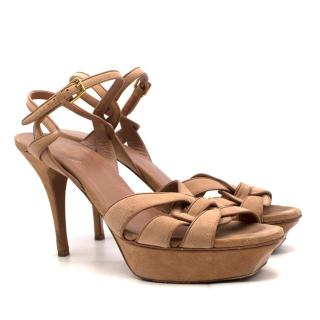 Yves Saint Laurent Nude Suede Tribute Sandals