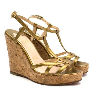 Christian Louboutin Metallic Gold Cork Wedge Sandals