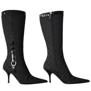 Gucci Black Monogram Canvas Boots